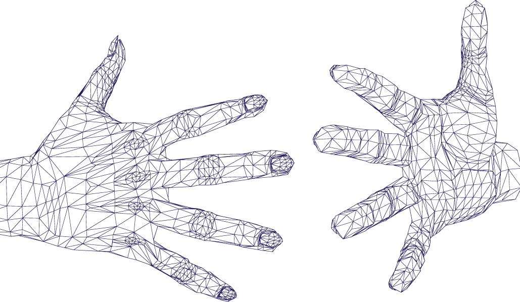 wireframe hands